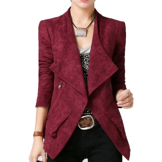 Ruby Stylish Womens Plain Turndown Collar Suede Coat Blazer ($47 ...