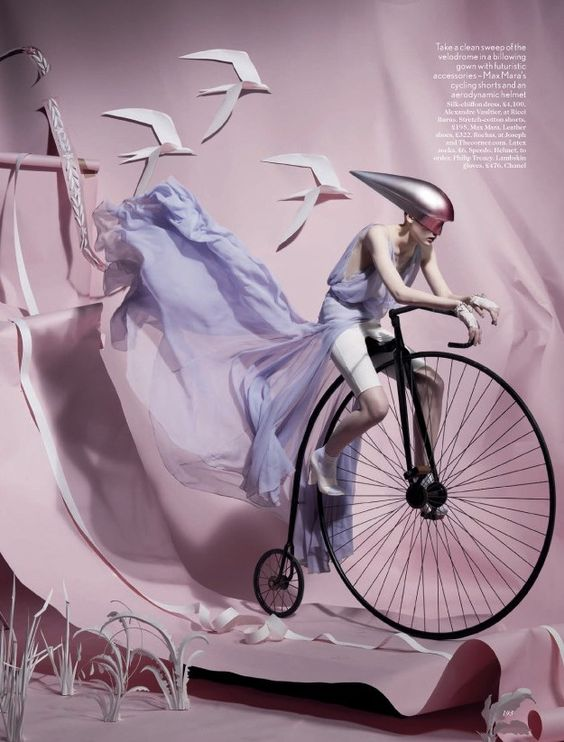 """Olympic Inspired Fashion, Lara Mullen in """"Paper Plates"""" Photographed by Tim Gutt & Styled by Charlotte Pilcher for Vogue UK, June 2012"""