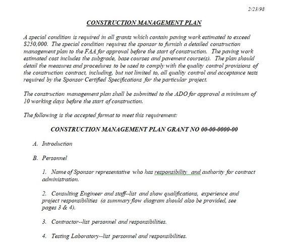 Sample Construction Management Plan Template  Project Management