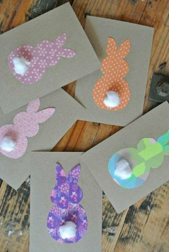 carte voeux prsonnalisée à faire vous-memes avec des lapins colorés, decoupage: