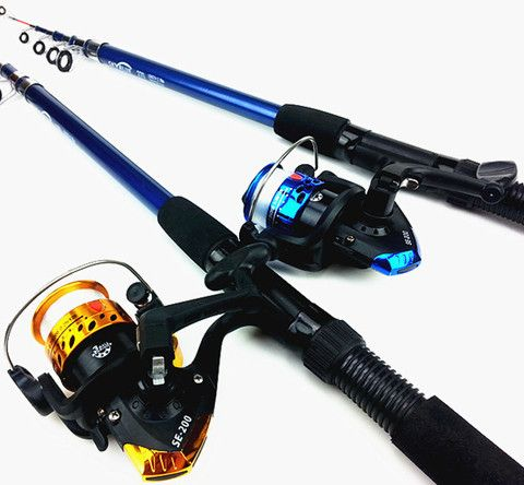 Lure Rod Carbon Deep Sea Saltwater Fishing Rod Portable Foldable Travel Spinning Cheap Telescopic Rods and Metal Reels Set - Safaryworld.com - 7