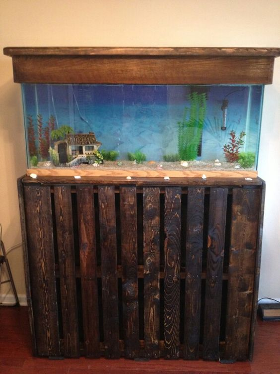 55 gallon fish tank stand using two pallets stained and for Fish tank table stand