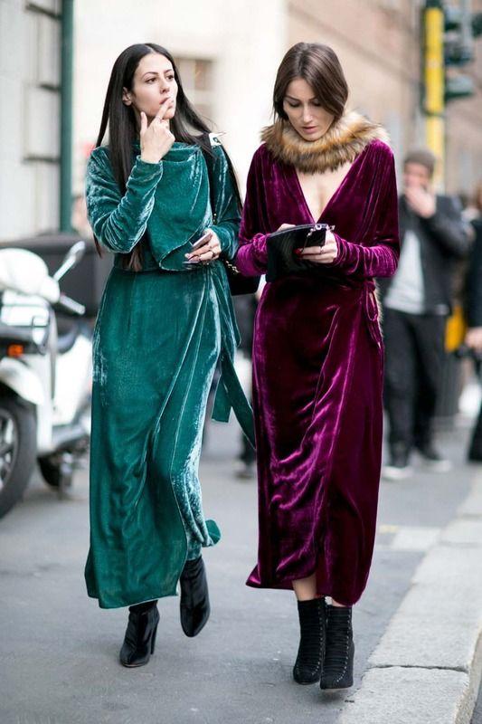 Velvet in Milan FW street style: