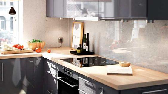 05382507 photo cuisine ikea moderne chaleureux bois gris for Cuisine bois anthracite