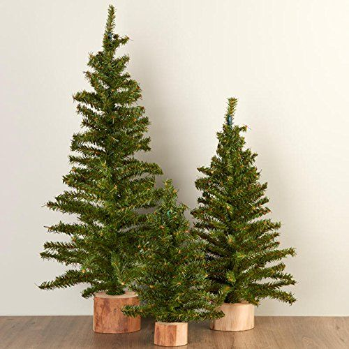 Factory Direct Craft Assorted Size Artificial Canadian Pine Trees Wood Bases Holiday Home Decor 3 Trees Winter Holiday Crafts Christmas Factory Direct Craft