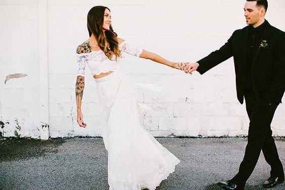 Two piece Grace Loves Lace wedding dress