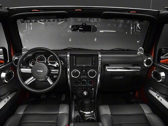 Rugged Ridge Chrome Interior Trim Accent Kit 07 10 Wrangler Jk 4 Door W Manual Transmissio Jeep Wrangler Interior Volkswagen Routan Jeep Wrangler Accessories