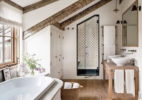 Pretty bathroom details!  Also today on the blog sharing some Fall Pantone color combos.   Head to Beckiowens.com for  details.  Image via @archdigest
