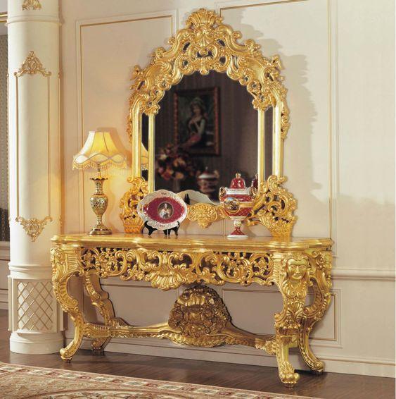 Muebles clásicos lámina de oro barroco agrietamiento consola ...