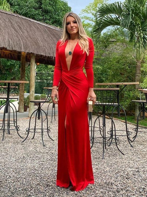 vestido de formatura decote único