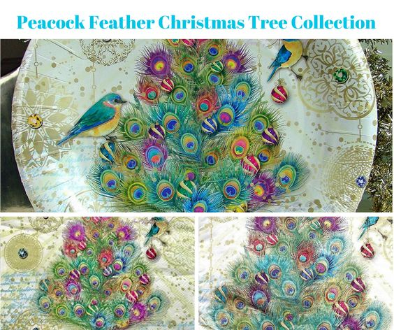 Peacock Feather Christmas Tree Party Banner