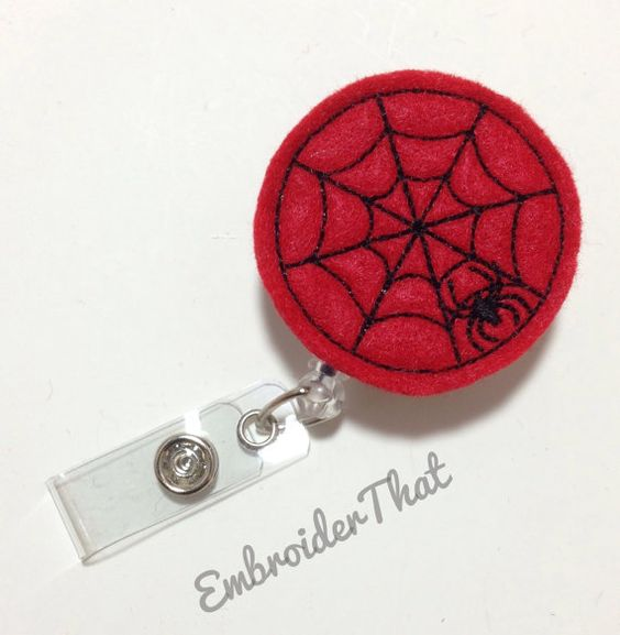 Retractable ID Badge Reel with ONE by EmbroiderThat on Etsy, $5.00