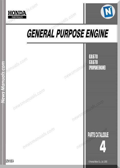 Honda Gx 670 Propane Engine Ws Repair Manual 13zn10e4 In 2020 Repair Manuals Engineering Repair
