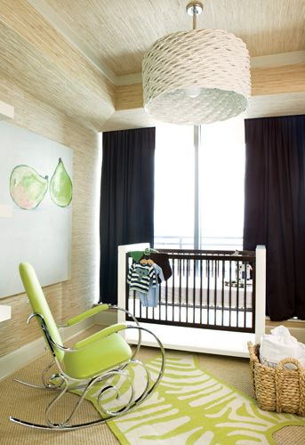 "The green zebra rug in the nursery is a popular item from Lee""s store available by custom order in an array of colors. The crib is from B. Braithwaite, the rocker is a vintage find and the pear painting is one Lee has had for years.:"