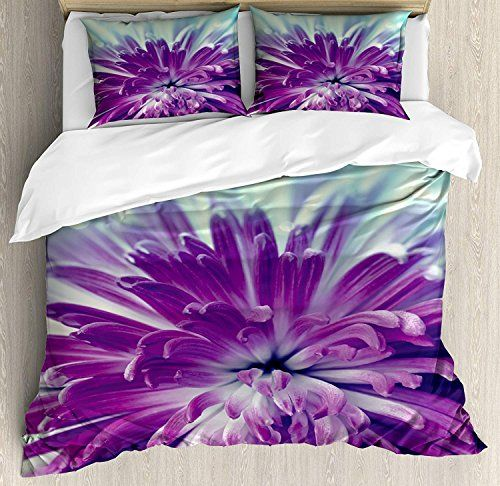 Dahlia Duvet Cover Set Twin Size Radiant Violet Colored Blooming Dahlia Close Up With Petals In Pale Sun Full Bedding Sets Duvet Cover Sets Floral Duvet Cover