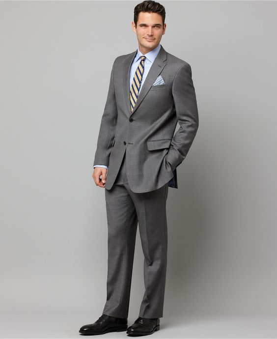 Tommy Hilfiger Suit, Gray Sharkskin Slim Fit - Mens Suits & Suit