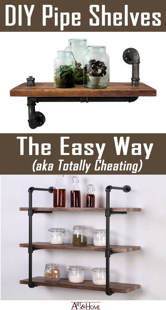 Industrial Style DIY Pipe Shelves, the Easy Way