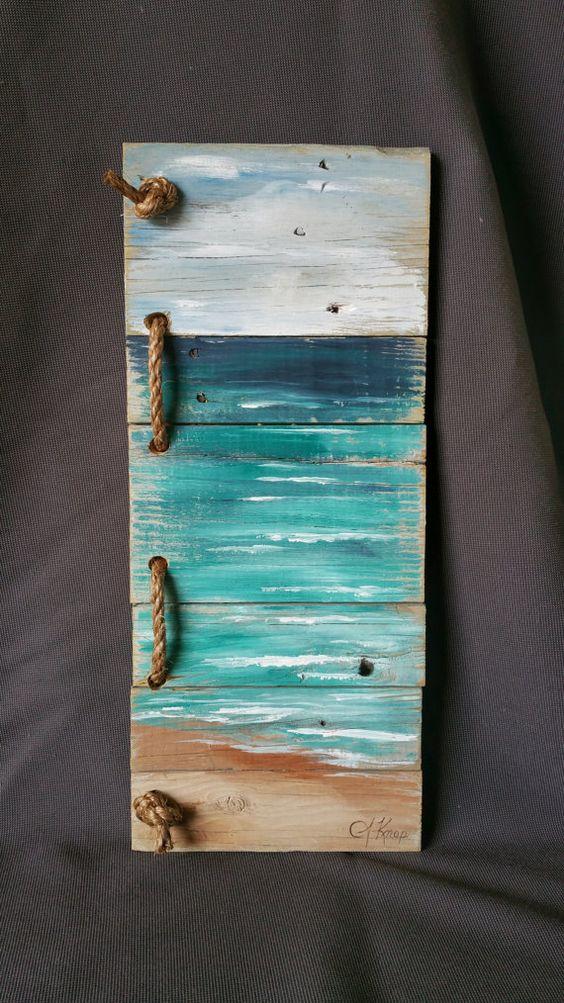 Aufgearbeiteten Holz-Paletten-Kunst, handbemalte seelandschaft mit Seil Akzent, Strand, Ferienhaus, Upcycled, Wall Art, Distressed, Shabby