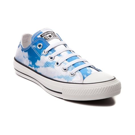 Today's fashion forecast calls for partly cloudy footwear with a chance of chic style! Lace up your sunny state of style with the Clouds Chucks from Converse, flaunting a low top design with graphics of fluffy clouds on a sleek satin upper. Only available at Journeys and SHI by Journeys!