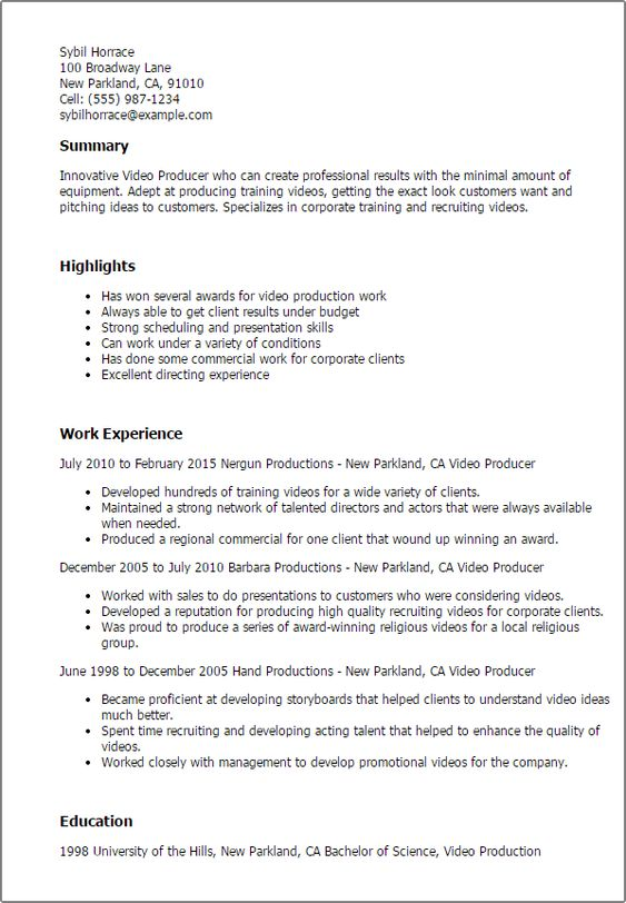 Resume Examples Video Production Resume Templates Resume Examples Sample Resume Video Resume