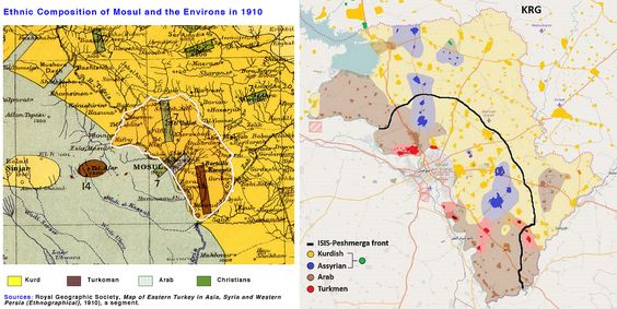 Ethnographic map of the Nineveh Plain - 1910 Vs 2014