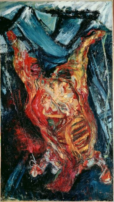 Chaim Soutine, Flayed Beef, 1925.  This particular painting really pissed off Soutines's neighbors due to the smell of rotting beef.  LMAO!!!: