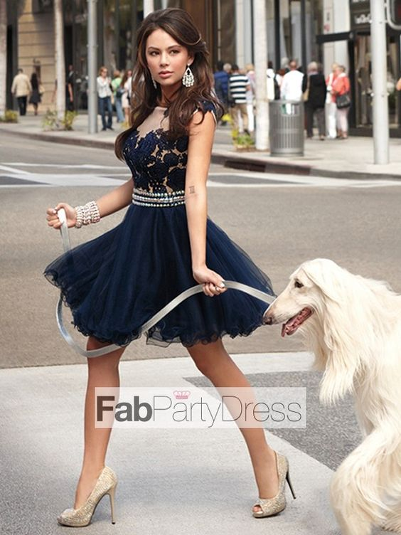 A-line Scoop  Applique  Sleeveless Short / Mini  Tulle  Cocktail Dresses / Homecoming Dresses