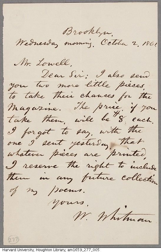 Harvard's Houghton Library showcases a submission letter from Walt Whitman to the editor of the Atlantic, James Russell Lowell