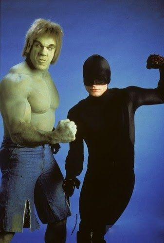 "Lou Ferrigno as the Incredible Hulk and Rex Smith as Daredevil in the 1989 made-for-TV movie, ""The Trial of the Incredible Hulk."""