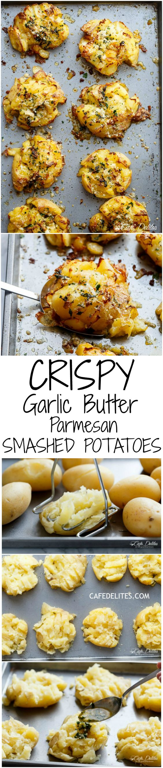 Crispy Garlic Butter Parmesan Smashed Potatoes are fluffy on the inside and crispy on the outside, smothered in garlic butter and parmesan cheese! | http://cafedelites.com: