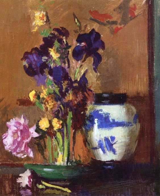 The Athenaeum -Still Life with Irises and Blue Jar Edmund Tarbell - Date unknown Private collection Painting - oil on canvas Height: 76.2 cm (30 in.), Width: 63.5 cm (25 in.)