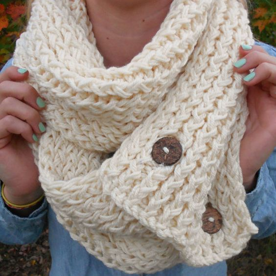 Infinity Scarf With Buttons Knitting Pattern : Cream Knit Button Chunky Infinity Scarf//Knit Circle Scarf ...