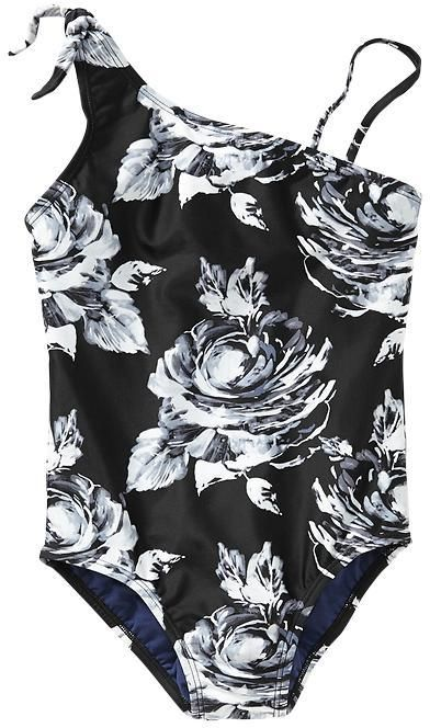 Floral tie-shoulder one-piece