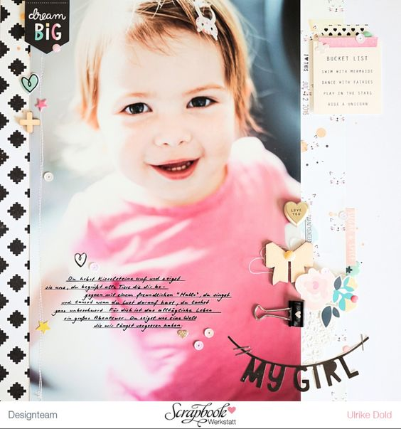 Layout *My Girl* - Crate Paper *Cute Girl*- von Ulrike Dold