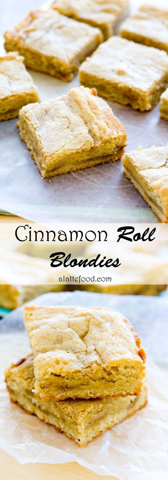 These delicious cinnamon swirled blondies have a layer of gooey cinnamon roll filling to make them amazingly addicting.| www.alattefood.com