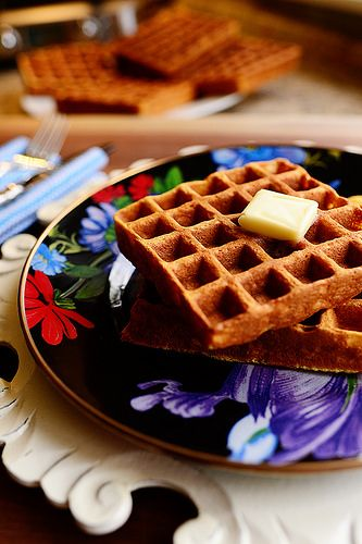 Light and crispy waffles! I could eat them for breakfast, lunch...or dinner.