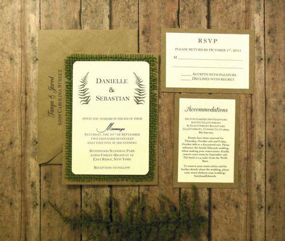 Rustikale Hochzeitseinladung, Farn Salbei grün Natur botanische Sackleinen Custom - 103