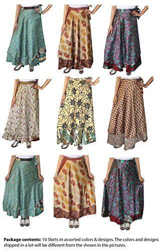 Maple Clothing Two Layers Womens Indian Sari Magic Wrap Around Long Skirt