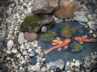 Painted koi pond acrylic on slate tile seal and place for Fish pond rocks