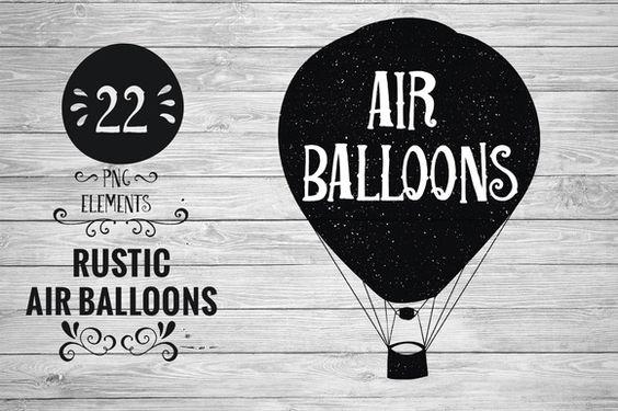 Rustic Hot Air Balloons by Kaazuclip on @creativemarket