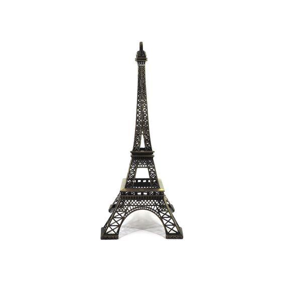 Torre Eifell Largura x Altura x Profundidade: 14 x 32 x 14 cm Peso: 275 g Material: metal Acabamento: ouro envelhecido Origem: Ásia