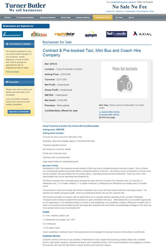 Business for sale Contract \ Pre-booked Taxi, Mini Bus and Coach - business sale contract