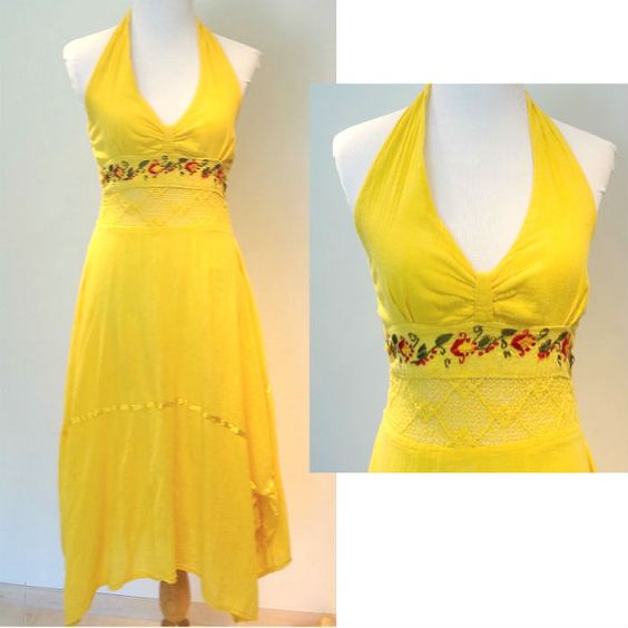 Vintage 1970's Halter Dress, Yellow with Crochet and Embroidery Summer Sun