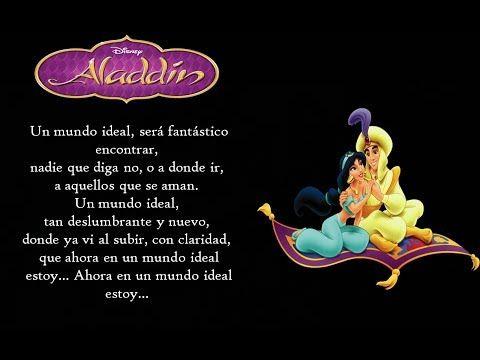 Aladdín Un Mundo Ideal Latino Letra Youtube Letras De Canciones De Disney Un Mundo Ideal Letras De Disney