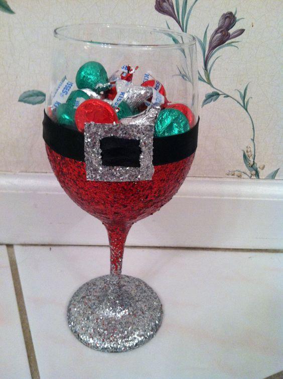 Santa wine glass candy dish: