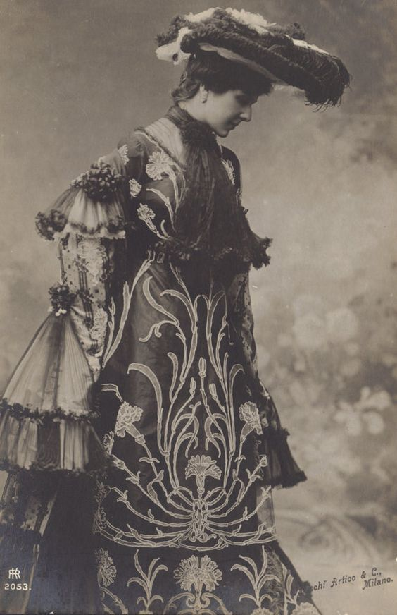 Classic Art Nouveau Flower Pattern Overlay on Dress