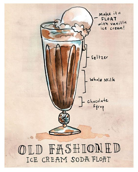 Cream soda illustrators and sodas on pinterest for Old fashioned ice cream soda fountain