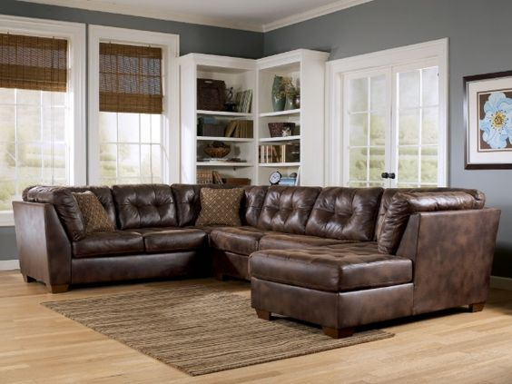 This Is A Cute Faux Distressed Leather Look Sectional