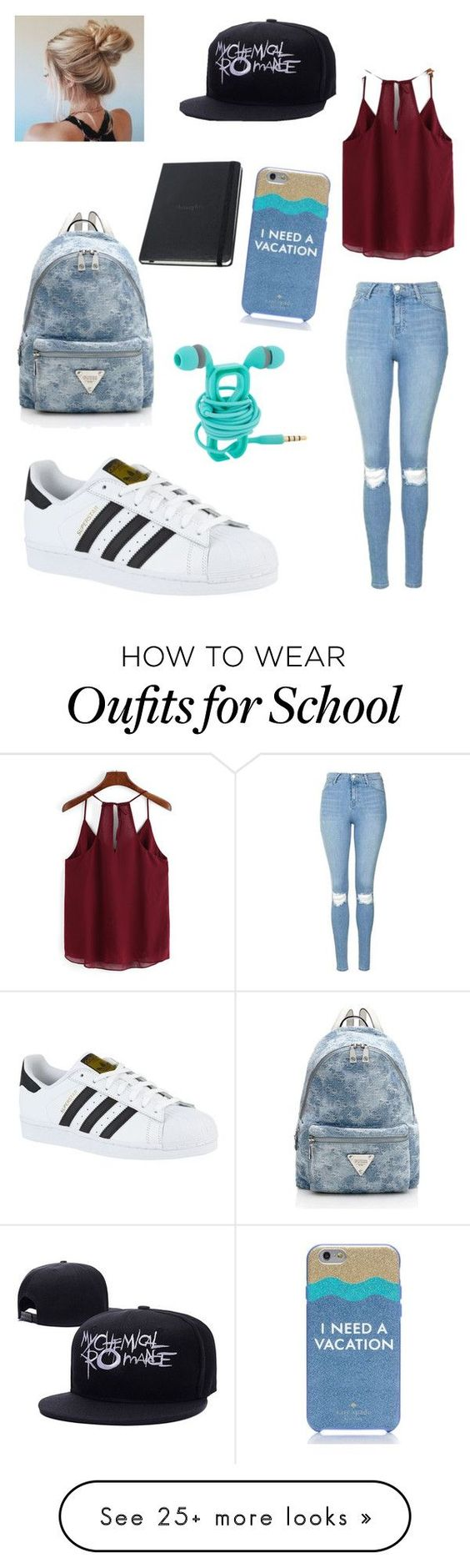 """""""School"""" by asexualkilljoy on Polyvore featuring Topshop, adidas and Kate Spade"""