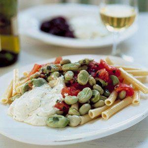 Pasta Salad with Favas.  Recipe by Diane Kochilas.  via Saveur.  photo by Ben Fink.
